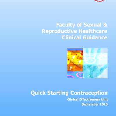 Royal College of Obstetricians & Gynaecologists, Quick Starting Contraception