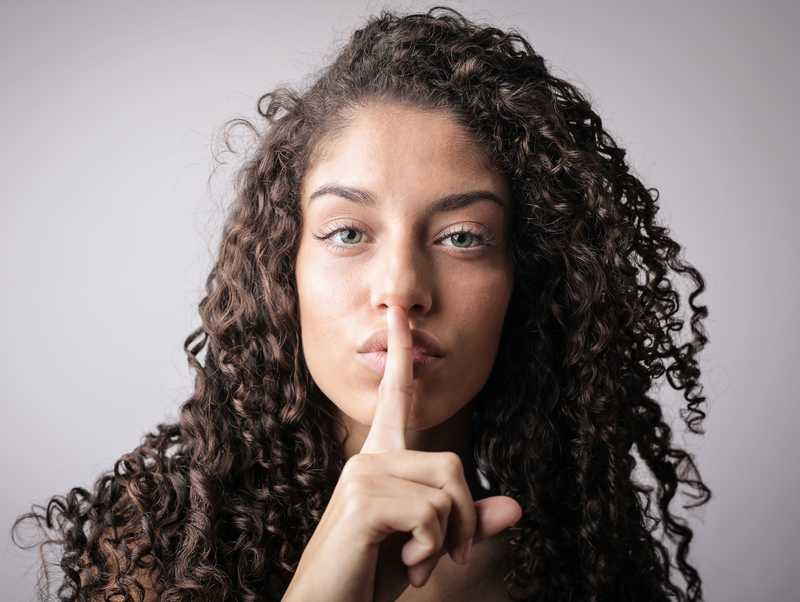 Woman keeping secret